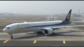 [HD] Jet Airways Boeing 777 Landing, Taxi, Takeoff at Mumbai Airport