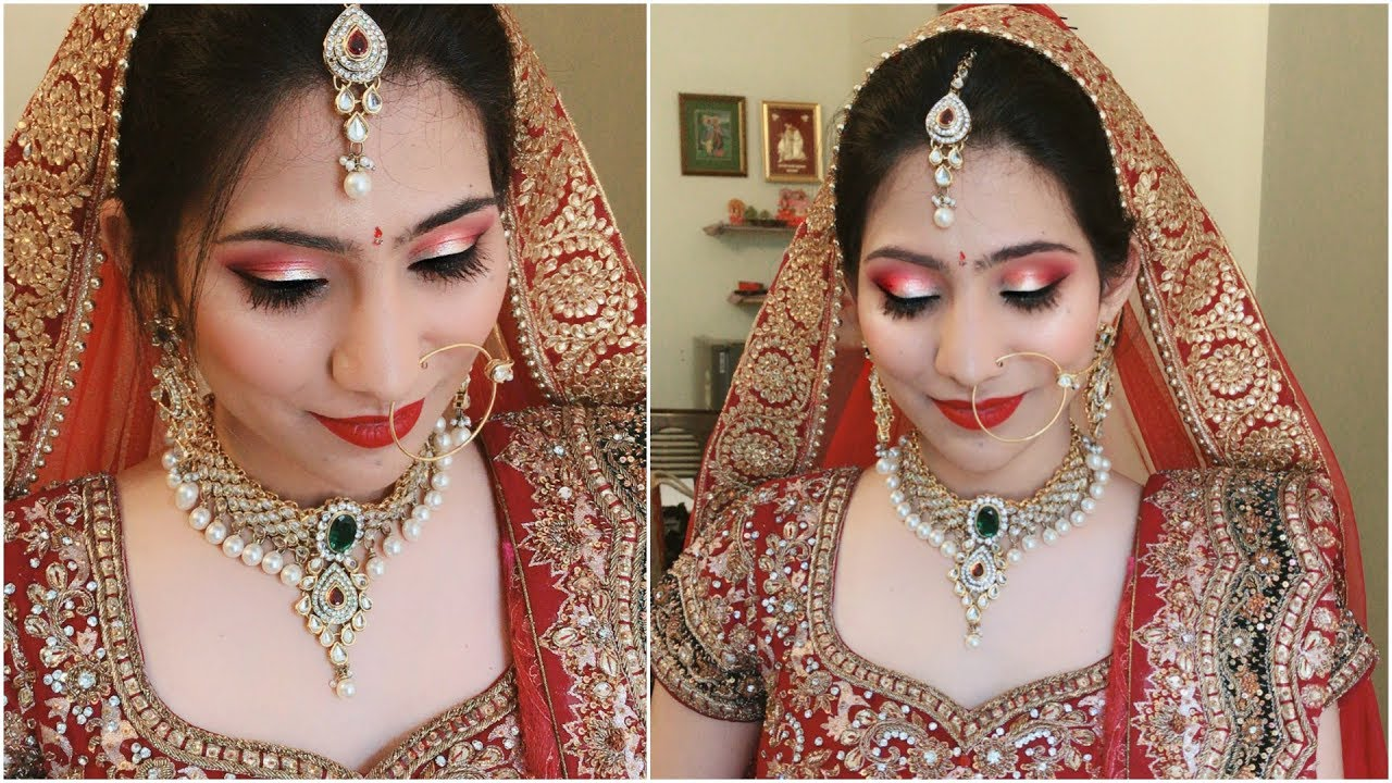 Indian bridal makeup tutorial green and gold glitter eyes youtube.