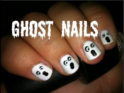 How to Paint Easy Simple Halloween Ghost Nail Art - YouTube