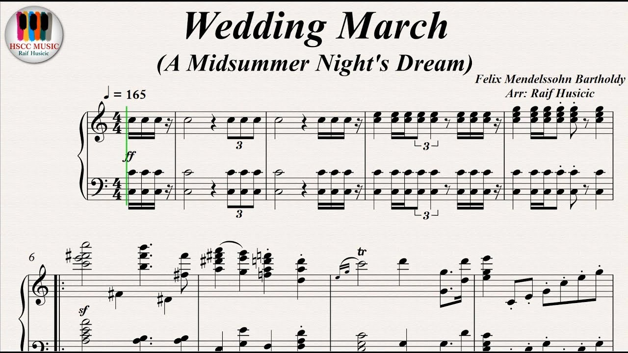 Wedding March A Midsummer Night S Dream Felix Mendelssohn Bartholdy Piano
