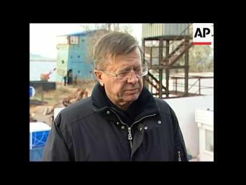 Russian PM Viktor Zubkov arrives to assess damage of oil spill