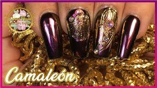 EFECTO CAMALEÓN + Clon Swarovski | Uñas de acrílico con Stickers Dorados
