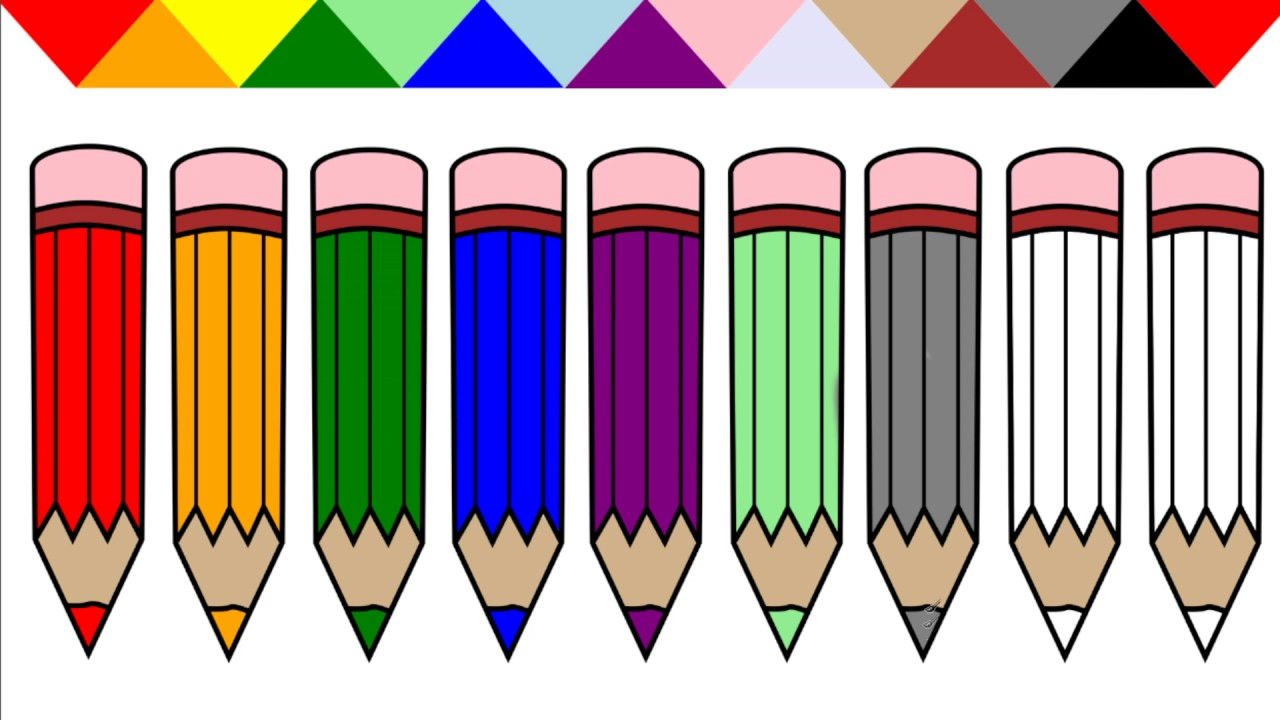 learn colors for kids with colored pencil coloring pages youtube