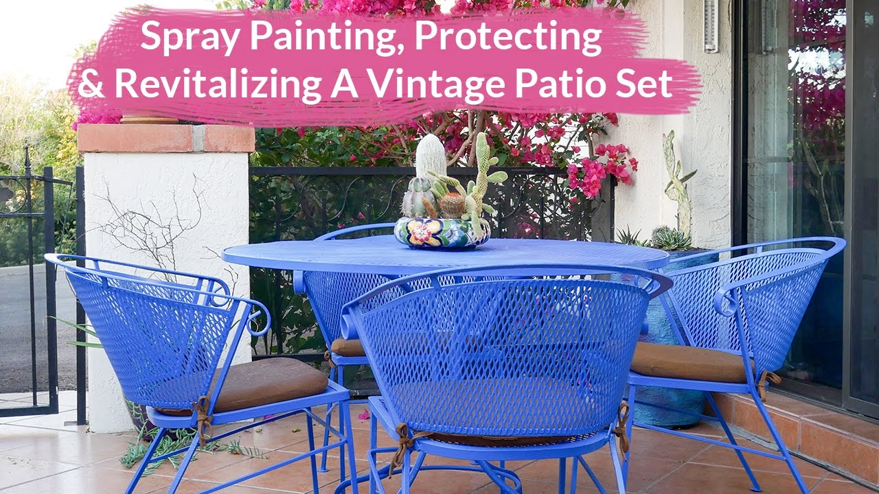 Retro Metal Patio Furniture Intended Spray Painting Protecting u0026 Revitalizing Vintage Metal Patio Set Joy Us Garden