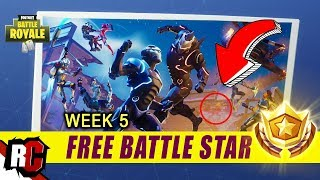 Secret Battle Star Location WEEK 5 | Fortnite Battle Royal (Blockbuster Challenge Free Battle Star)