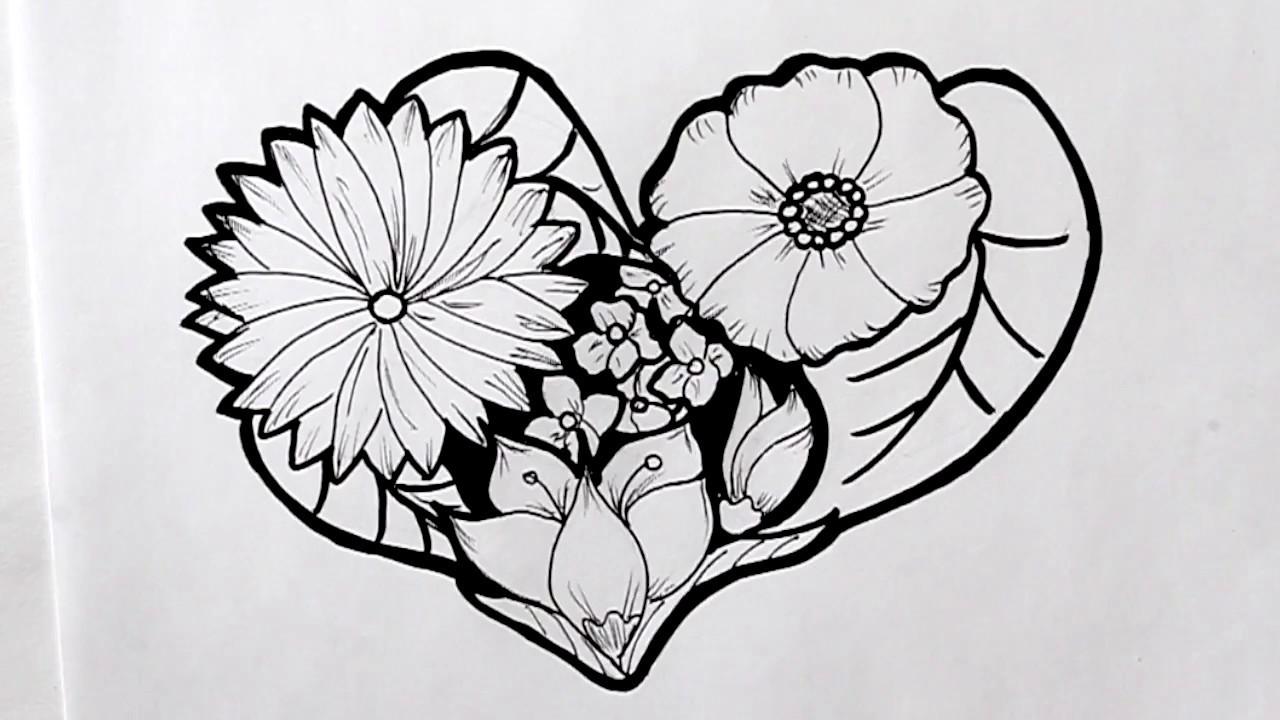 Cómo dibujar un Corazón de Primavera Dibuja Conmigo Dibujos de Flores -  YouTube