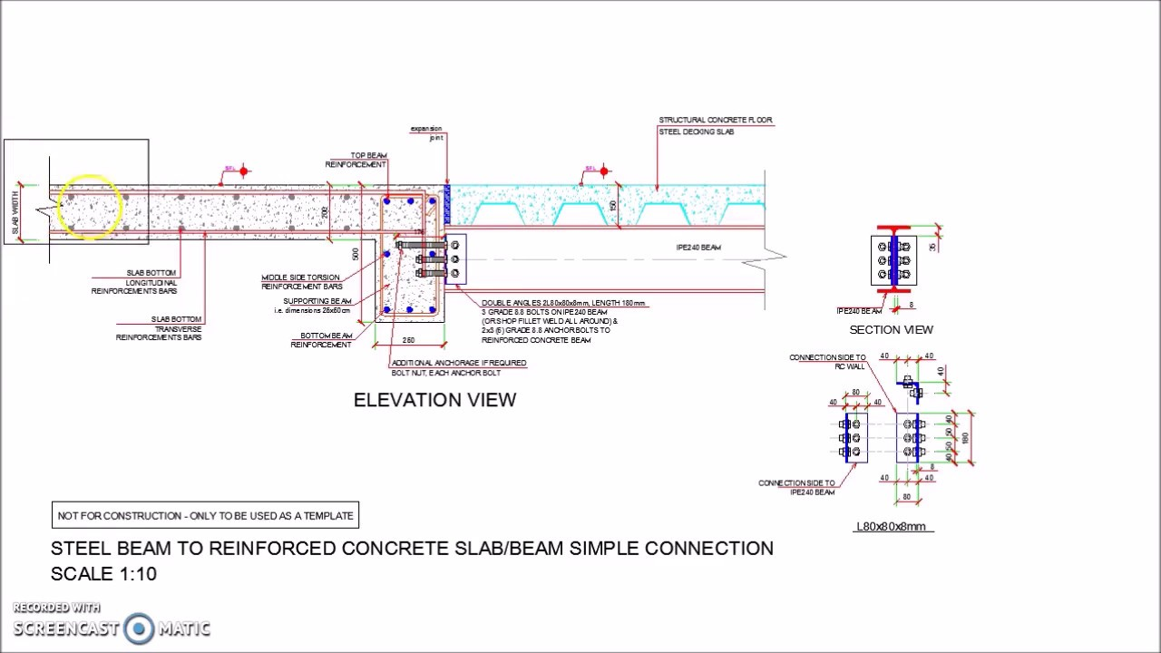 Steel Beam Reinforced Concrete Slab Beam Simple Connection
