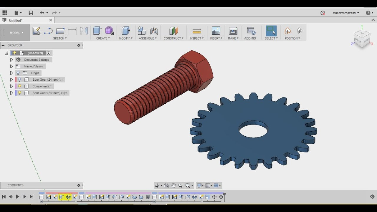 Design A BOLT AND SPUR GEAR IN 30sec - FUSION 360 tutorial