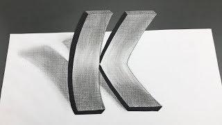 Ilusiones Opticas | Dibujando Letra K 3D Realista