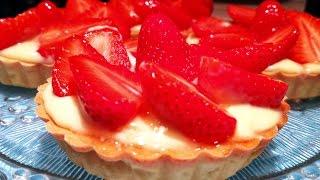 🍓 Recette tartelette sablée  aux fraises et crème à la vanille / Recette facile