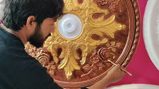 Нow to paint beautiful Ceiling medallion antique Colour & Amazing silver Gold  Painting 4K- Ep-3