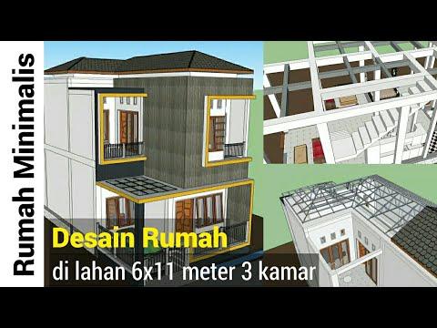 rumah 6x11 meter 2 lantai - youtube