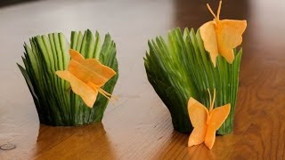 How To Make A Carrot Butterfly And Cucumber Fans Garnish