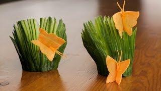 Wie Man Eine Karotte Schmetterling Und Gurke Fans Garnieren