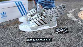 "JEREMY SCOTT WINGS 2 0 ""SILVER WINGS""  ON FEET EDITION @ EXCLUCITY"