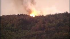 Incendie de forêt à St Martial (07310) dans la montée du Gerbier le 26/08/2009