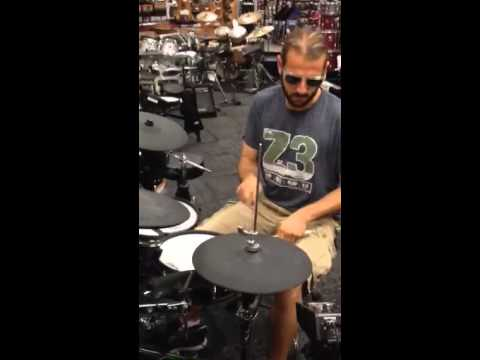 Was at Guitar Center and told my drummer brother to play a Kanye Beat on an electric drum kit, I was not disappointed