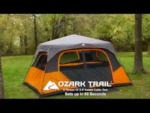 Ozark Trail Instant 13' x 9' Cabin Camping Tent, 8 Person - All Season