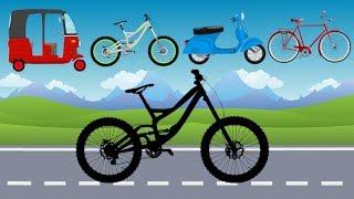 Street Vehicles, Bikes with wrong wheels - Mountain Bike vs classic Bicycle | बच्चों के लिए वीडियो