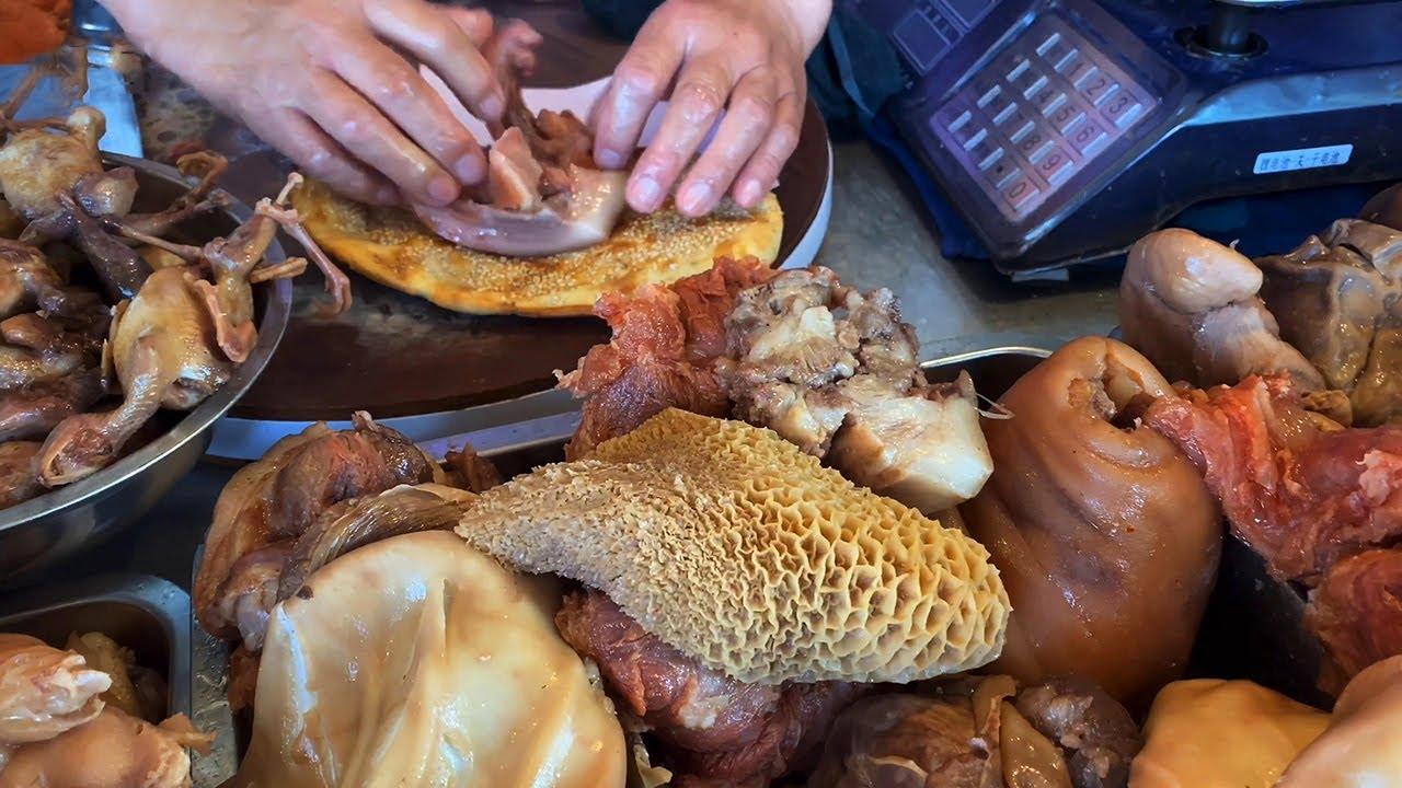 安徽蒙城地方名吃,独创烧饼猪头肉馅,一个7元,有点小贵!【唐哥美食】