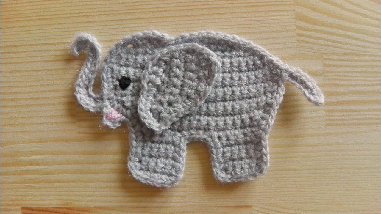 How To Crochet An Elephant Application Applique Youtube