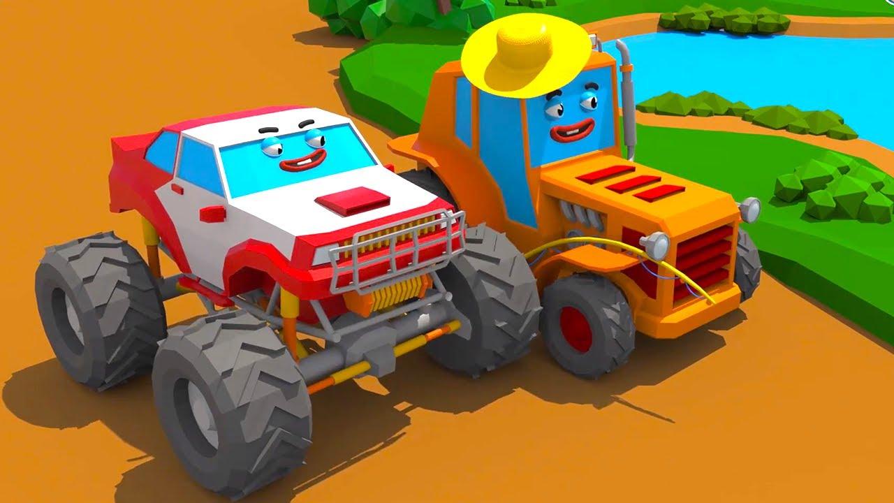 Монстр Трак и Приключения с Трактором - Городок Машинок - Мультфильмы для детей