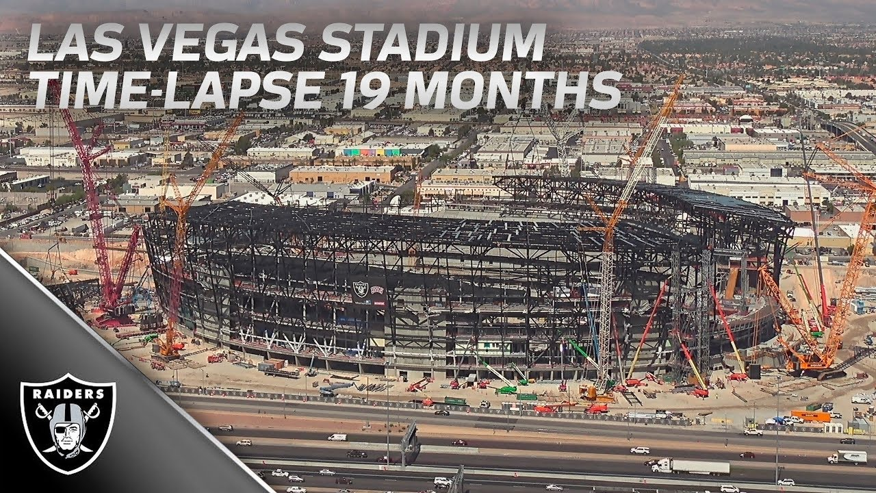 Las Vegas Stadium Construction Time Lapse 19 Months Of Work Raiders Youtube