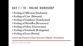 Day7 - Universal Human Values / Jeevan Vidya Online Workshop - Suman Yelati