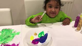 Ishfi Painting with Colorful Paint