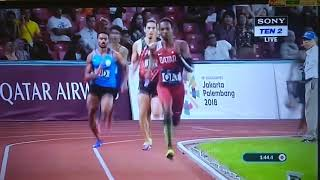 4x400m Men's Relay Final ||Asian games 2018|| Qatar Gold || India Silver || Asian Record.