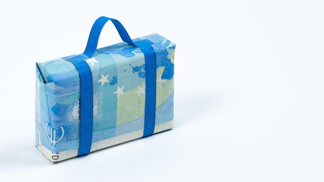 geldgeschenk zur reise koffer aus geld falten youtube