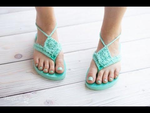 ecb39f974 CROCHET TUTORIAL  Boho Sandals from Foam Flip-Flops - Perfect For ...