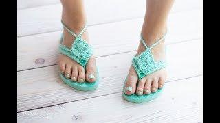 CROCHET TUTORIAL: Boho Sandals from Foam Flip-Flops - Perfect For BEGINNERS