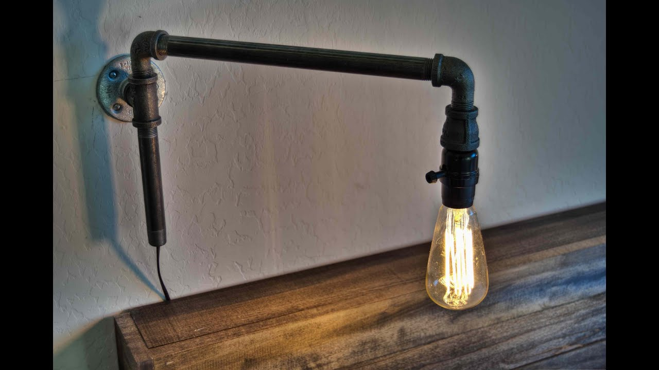 Homemade Wall Lamp : How to Make a Modern Swinging Wall Light from Iron Pipe Fittings - YouTube