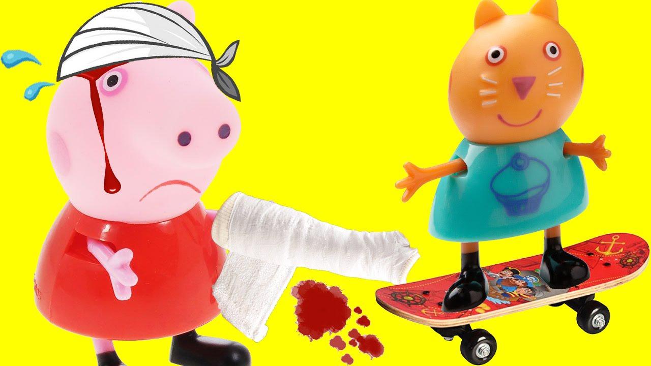 Свинка пеппа сломала руку катаясь на скейте! Мультик ...