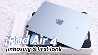 iPad Air 4 SKY BLUE unboxing & first look! 💙