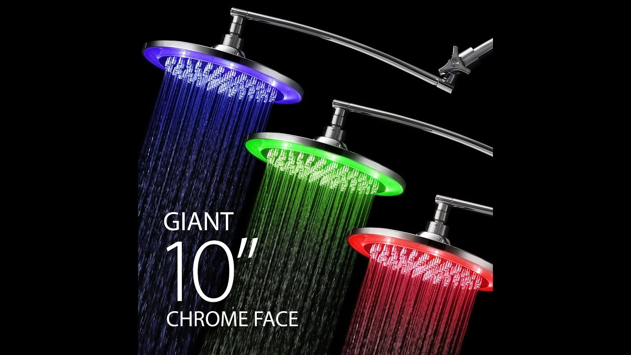 Hotelspa 10 Inch Color Changing Rainfall Led Shower Head Youtube