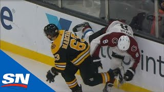 cale-makar-leaves-game-with-injury-after-hard-hit-from-brad-marchand