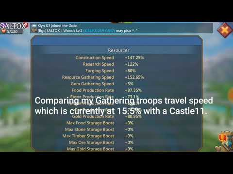 Lords Mobile - Gathering Troops Travel Speed - Castle 21 Vs Castle 11