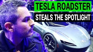 Tesla Roadster Steals the Spotlight from the Semi Truck!