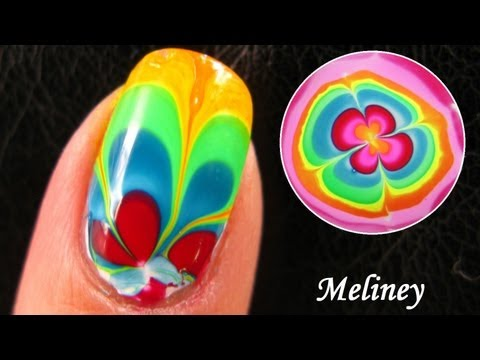 RAINBOW WATER MARBLE NAILS DESIGN: How to Nail Art Tutorial for Beginner Easy Simple 水染彩繪美甲