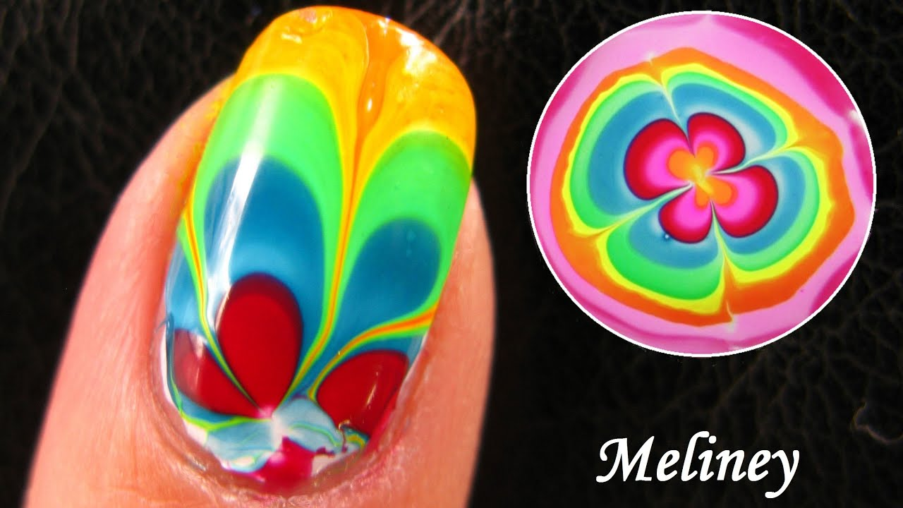rainbow water marble nails design