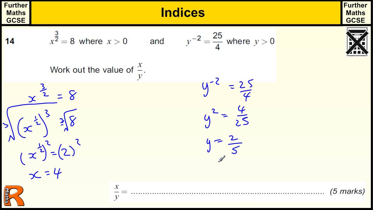 hight resolution of Indices Maths Questions (examples
