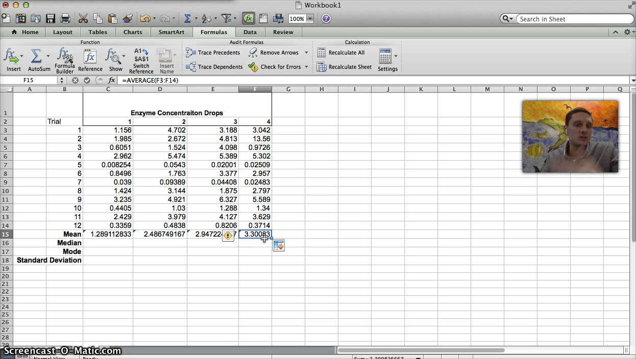 Calculating Mean, Median, Mode, & Standard Deviation In Excel