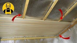 Потолок в бане. Монтаж и утепление потолка(Потолок в парилке - дело важное. В этом видео мы будем занижать потолок на необходимую высоту, делать каркас,..., 2016-12-01T04:57:40.000Z)