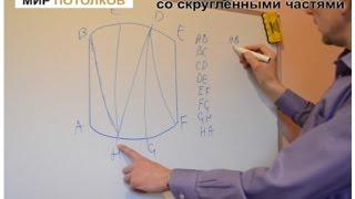 Как измерить натяжной потолок с округлыми формами. Урок 4.