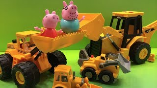 Daddy Pig takes Peppa Pig to watch a big truck unload bulldozers, loaders and excavators