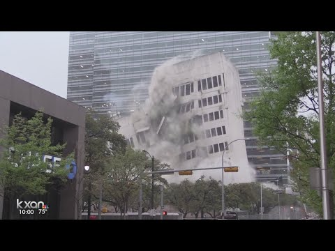 Largest planned implosion Austin has ever seen goes off without a hitch