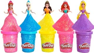 Play Doh Sparkle Disney Princess Dresses Ariel Elsa Belle Magiclip * Blind Bags * RainbowLearning