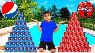 vuclip Coke vs Pepsi Pretend Play! Funny Boy Goes Shopping & Play Stacking Game
